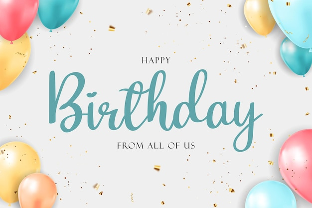 Happy birthday congratulations banner design with confetti balloons and glossy glitter ribbon
