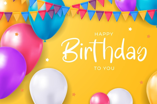 Happy birthday congratulations banner design with confetti balloons for party holiday background