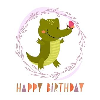 Buon compleanno coccodrillo carino
