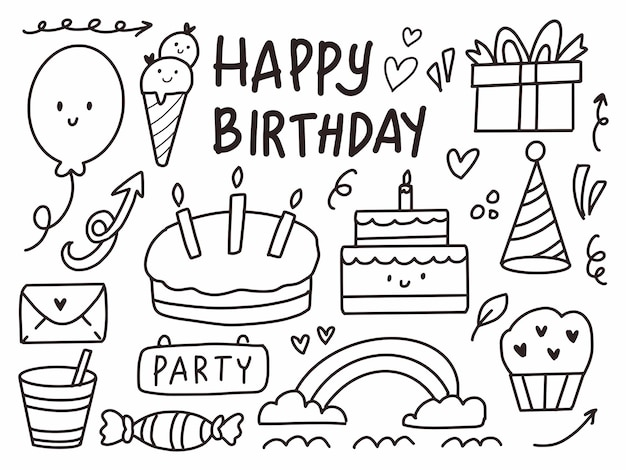 С днем рождения милый рисунок мультфильм каракули линии искусства.