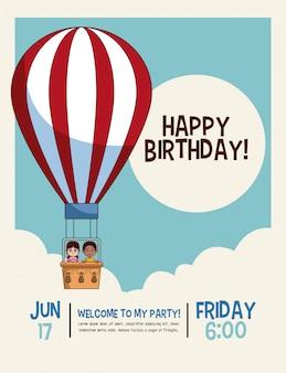 Happy birthday cute kids cartoons card