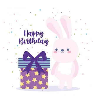 Happy birthday, cute rabbit and gift box surprise cartoon celebration decoration card