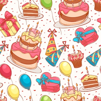 Happy birthday. cute seamless background with a birthday cake and gifts