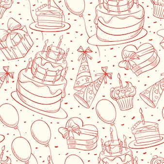 Happy birthday. cute seamless background with sketch birthday cake and gifts