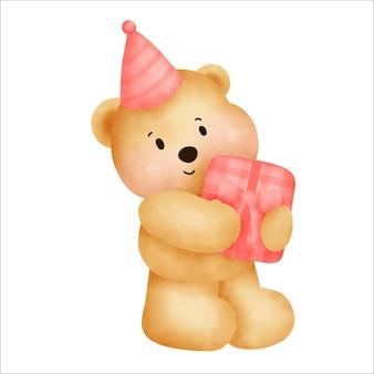 С днем рождения милый плюшевый мишка держит подарочную коробку.