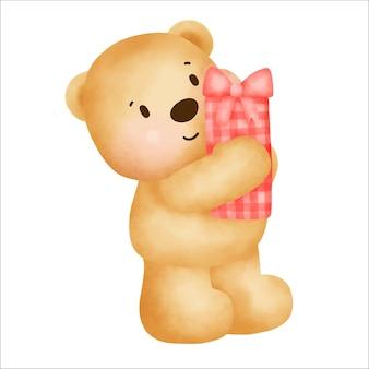 Happy birthday  cute teddy bear holding a gift box.