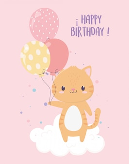 Happy birthday cute tiger with balloons party celebration decoration card