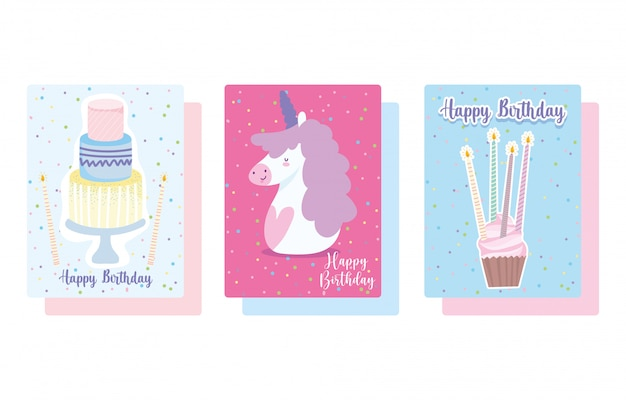 Happy birthday, cute unicorn cupcake and cake with candles cartoon celebration decoration card