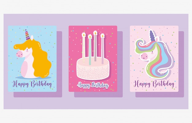 Happy birthday, cute unicorns cake and candles cartoon celebration decoration banner
