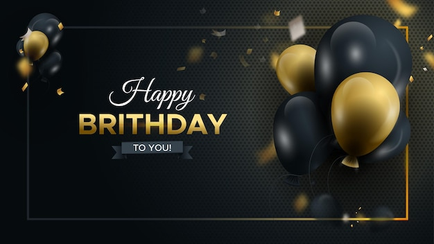 С днем рождения темный фон с глянцевыми шарами с роскошными воздушными шарами