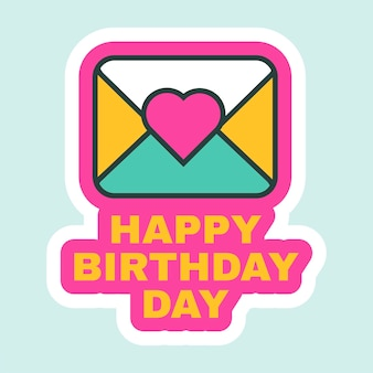 생일 축하 편지 아이콘 플랫 복고풍 디자인 벡터 일러스트 레이 션. 인사말 카드, 메시지 알림, 엽서 편지 휴일 또는 파티 장식을 위한 귀여운 만화 스티커