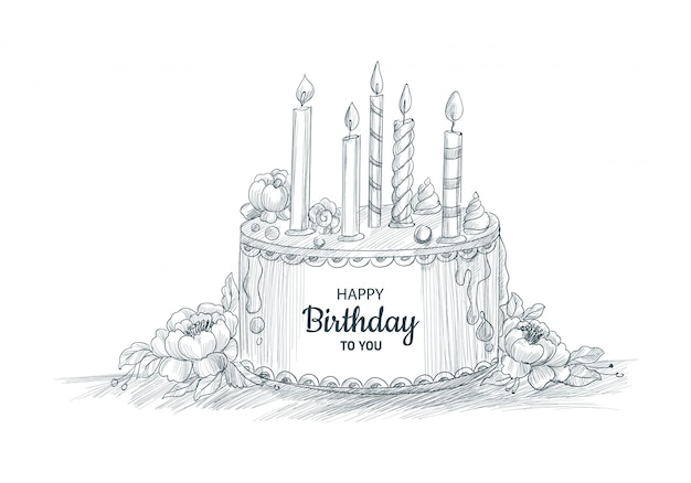 Happy birthday decorative cake with candles sketch design