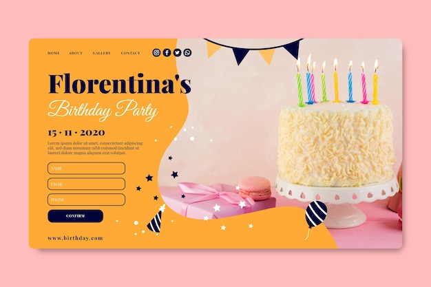 Happy birthday delicious cake landing page