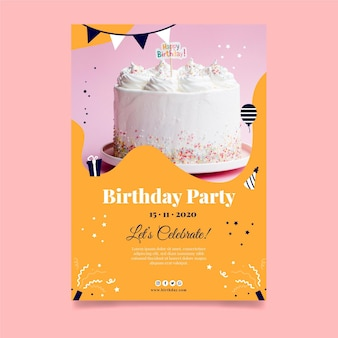 Happy birthday delicious cake poster