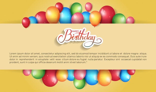 Happy birthday design for banner, poster, invitation card with colorful birthday element