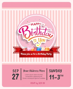 Happy birthday  design for brochure, poster, banner and invitation party