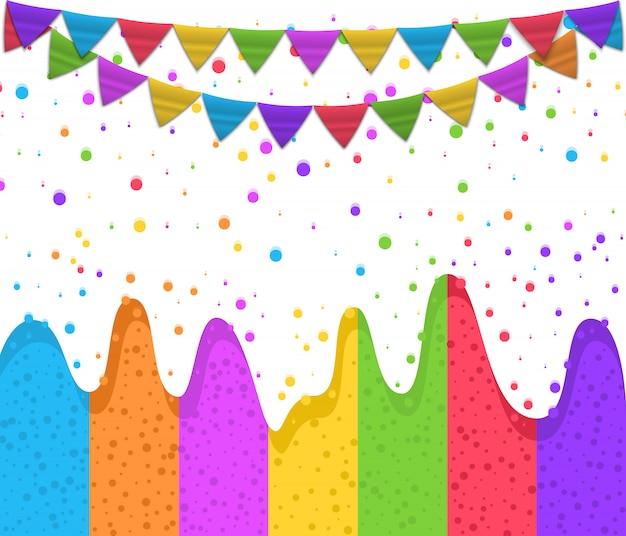 Happy birthday design, greeting card, colorful confetti