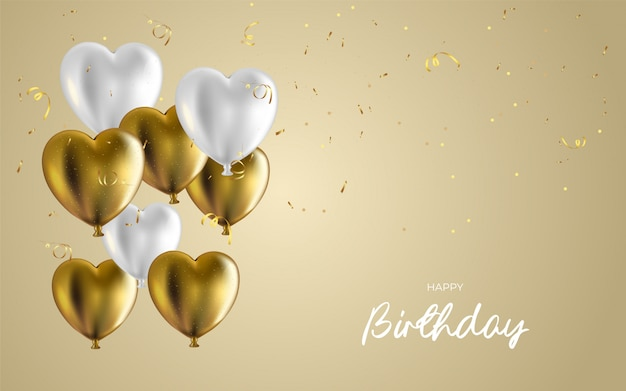 Happy birthday design for greeting cards and invitation, with confetti.