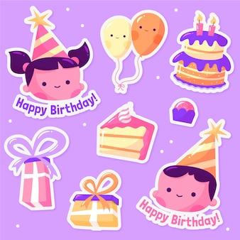 С днем рождения дизайн иллюстрация наклеек