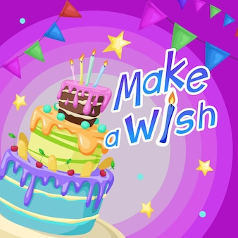 Happy birthday design template cartoon style cake with candles cherries and cookie decorations