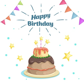 Happy birthday design template cartoon style cake with stars candies decoration