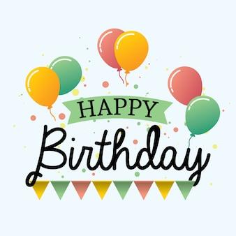 Happy birthday design typography with balloons