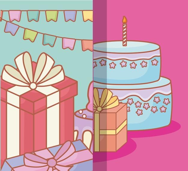 생일 케이크와 선물 상자가있는 생일 축하 디자인