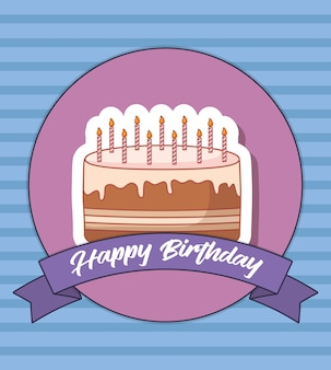 Happy birthday design with birthday cake with candles icon