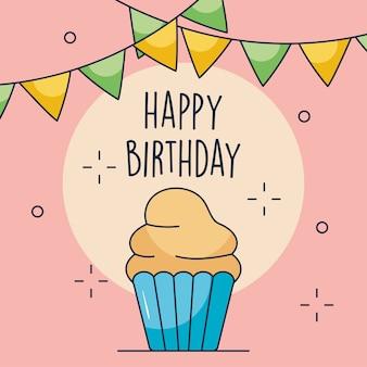 С днем рождения дизайн с кексом и вымпелами на розовом фоне