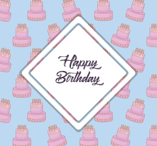 Happy birthday design with decorative rhombus frame