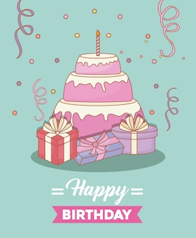 선물 상자와 생일 케이크가있는 생일 축하 디자인
