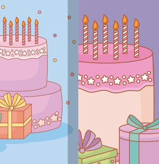 선물 상자와 생일 케이크와 함께 생일 축하 디자인