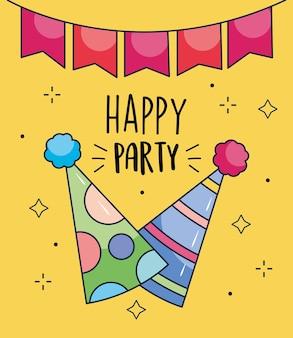 黄色の背景の上にパーティーハットと装飾的なペナントとお誕生日おめでとうデザイン
