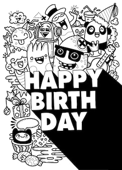 Happy birthday design with smileys wearing birthday hat  and text for party and celebration. illustration.