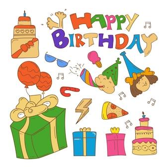 Happy birthday doodle background