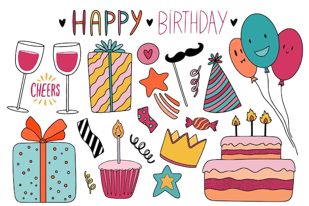 Happy birthday doodle elements for greeting card and christmas holiday decoration. kawaii stickers and pins designs.