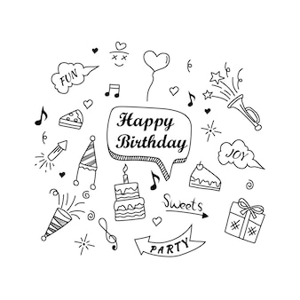 Happy birthday doodle elements isolated on white background vector illustration