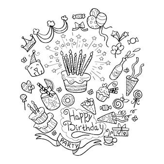 Happy birthday doodle hand drawn