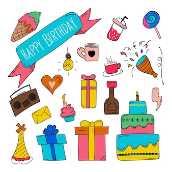 Happy birthday doodle icon in colourful