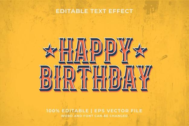 Happy birthday editable text effect template retro style premium vector