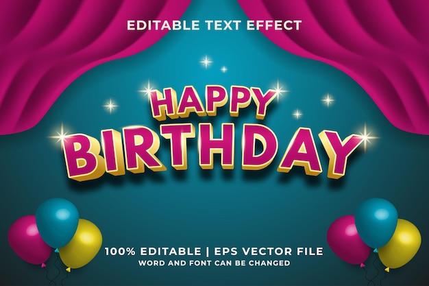 Happy birthday editable text effect template style premium vector