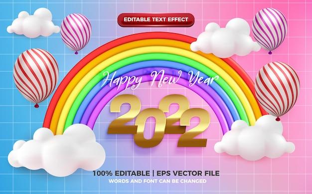 Happy birthday editable text effect with cute rainbow cartoon style