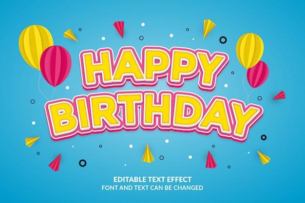 お誕生日おめでとう編集可能なテキスト効果