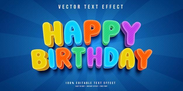 Редактируемый текстовый эффект с днем рождения