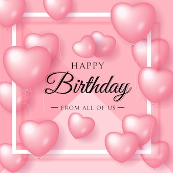 Happy birthday elegant greeting card with pink balloons