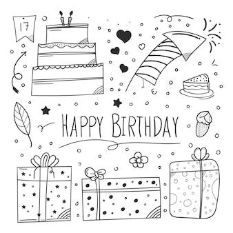 요소 디자인 초대에 낙서 스타일을 사용하는 생일 축하 요소 디자인