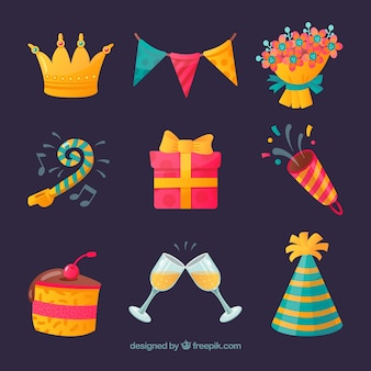 Happy birthday elements collection in flat style