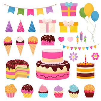 Happy birthday elements with colorful presents, flags, balloons and sweets symbols