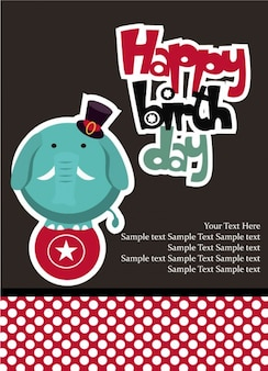 Happy birthday elephant card vector