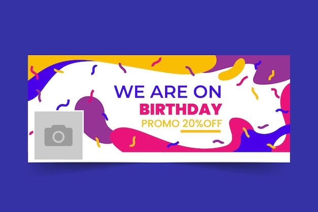 Happy birthday facebook cover template